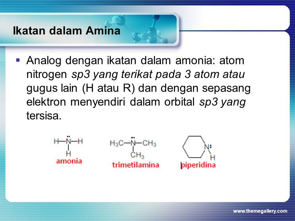 Ikatan dalam Amina  Analog dengan ikatan dalam amonia: atom nitrogen sp3 yang terikat pada 3 atom atau gugus lain (H atau R) dan dengan sepasang elek