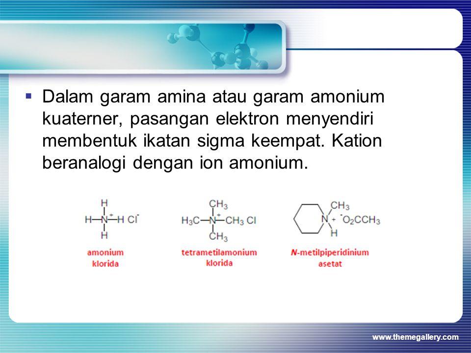  Dalam garam amina atau garam amonium kuaterner, pasangan elektron menyendiri membentuk ikatan sigma keempat. Kation beranalogi dengan ion amonium. w