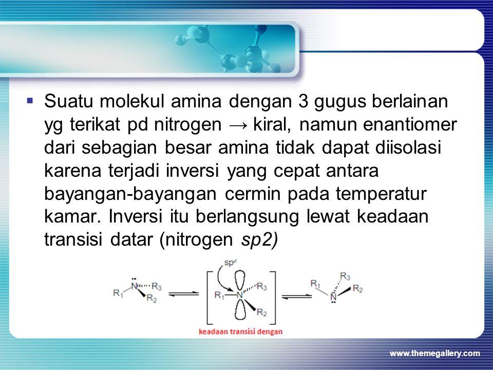  Suatu molekul amina dengan 3 gugus berlainan yg terikat pd nitrogen → kiral, namun enantiomer dari sebagian besar amina tidak dapat diisolasi karena