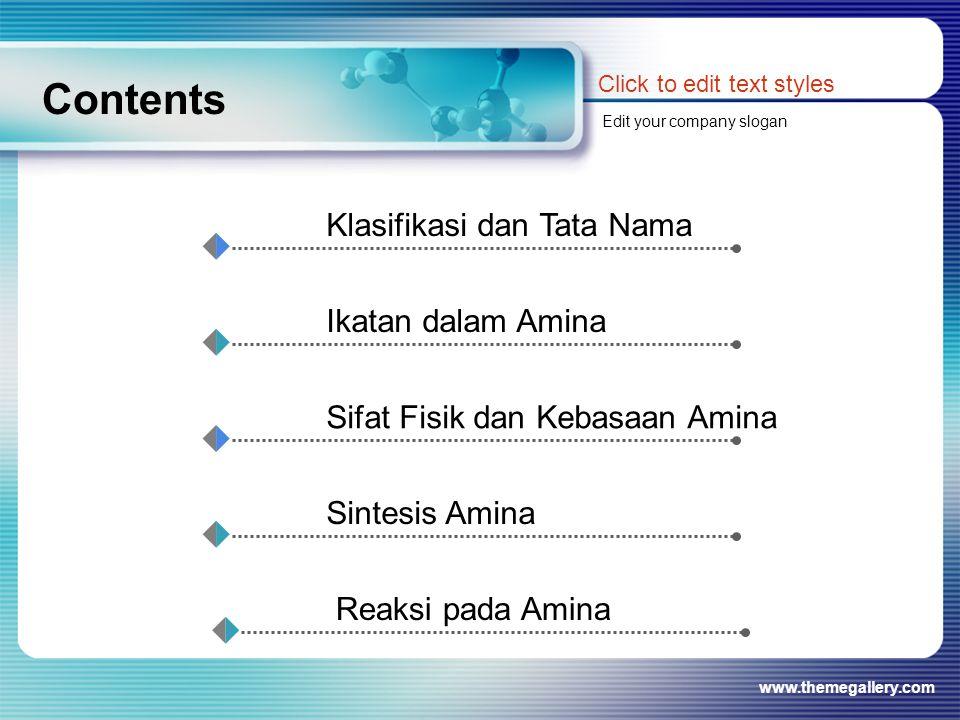 www.themegallery.com Contents Click to edit text styles Edit your company slogan Klasifikasi dan Tata Nama Ikatan dalam Amina Sifat Fisik dan Kebasaan