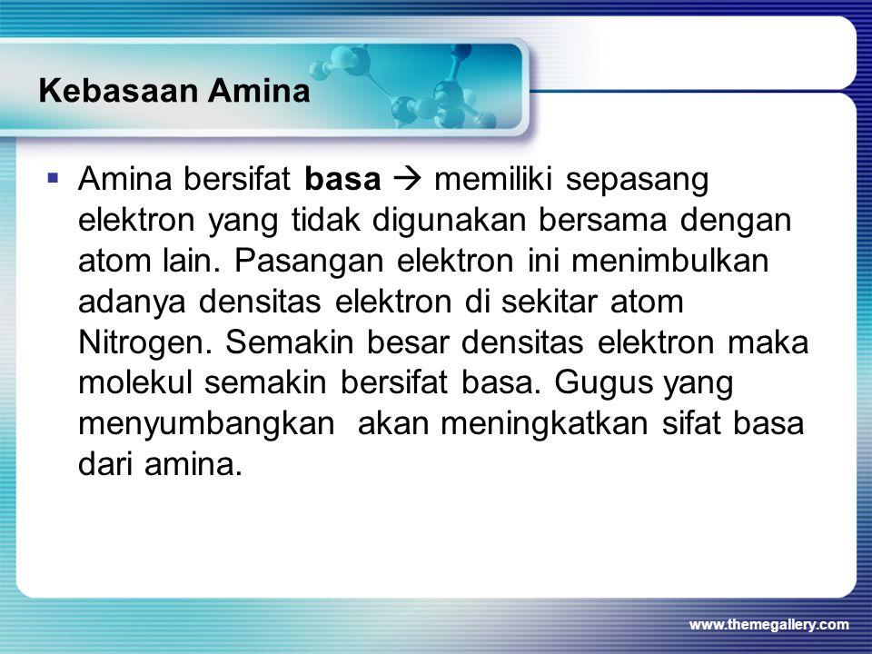 Kebasaan Amina  Amina bersifat basa  memiliki sepasang elektron yang tidak digunakan bersama dengan atom lain. Pasangan elektron ini menimbulkan ada