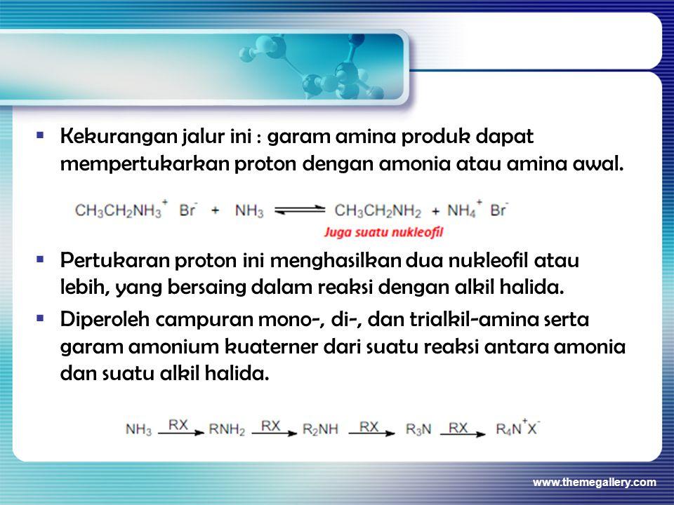  Kekurangan jalur ini : garam amina produk dapat mempertukarkan proton dengan amonia atau amina awal.  Pertukaran proton ini menghasilkan dua nukleo