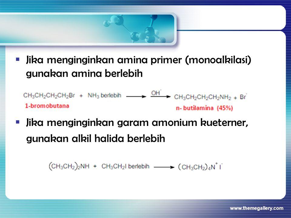  Jika menginginkan amina primer (monoalkilasi) gunakan amina berlebih  Jika menginginkan garam amonium kueterner, gunakan alkil halida berlebih www.