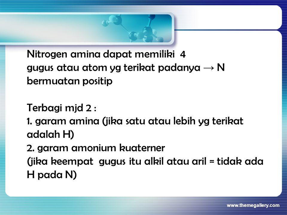 Nitrogen amina dapat memiliki 4 gugus atau atom yg terikat padanya → N bermuatan positip Terbagi mjd 2 : 1. garam amina (jika satu atau lebih yg terik