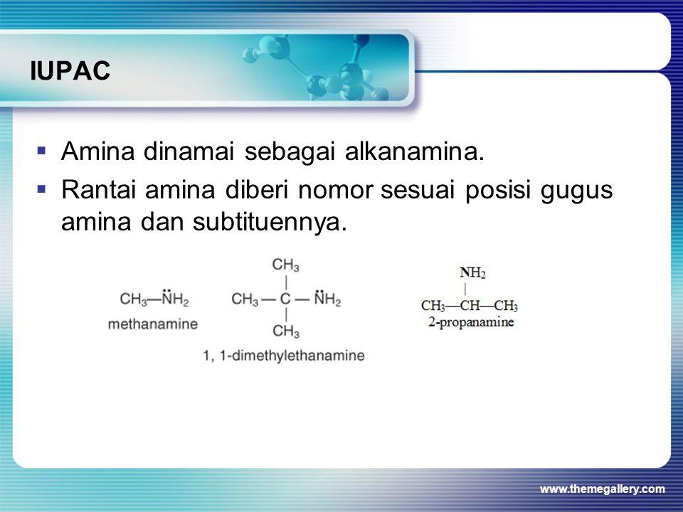 IUPAC  Amina dinamai sebagai alkanamina.  Rantai amina diberi nomor sesuai posisi gugus amina dan subtituennya. www.themegallery.com