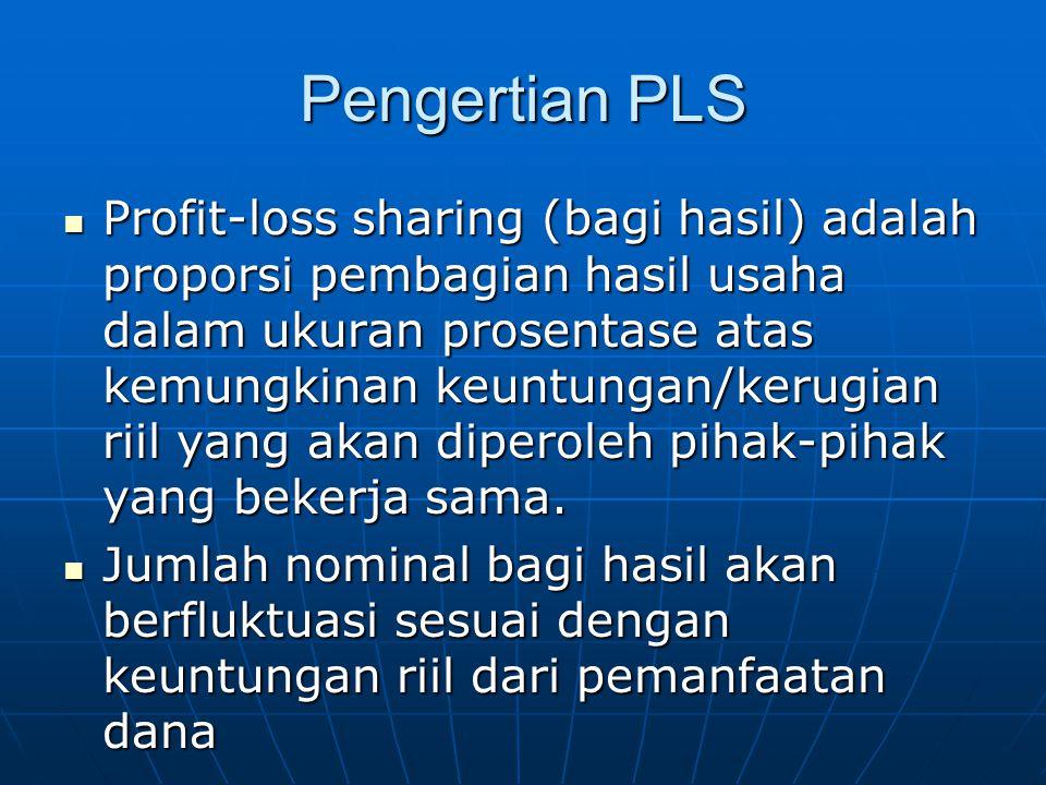 Pengertian PLS Profit-loss sharing (bagi hasil) adalah proporsi pembagian hasil usaha dalam ukuran prosentase atas kemungkinan keuntungan/kerugian rii