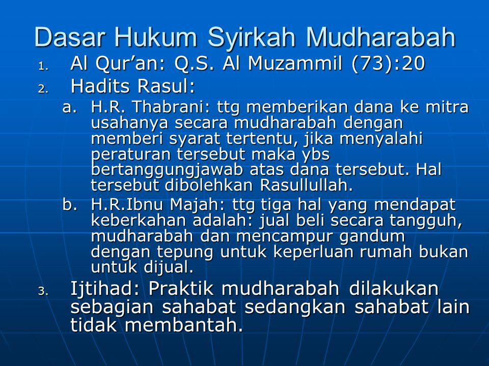 Dasar Hukum Syirkah Mudharabah 1. Al Qur'an: Q.S. Al Muzammil (73):20 2. Hadits Rasul: a.H.R. Thabrani: ttg memberikan dana ke mitra usahanya secara m