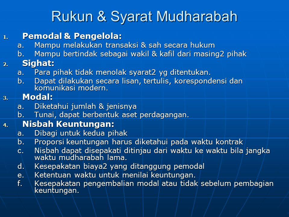 Rukun & Syarat Mudharabah 1. Pemodal & Pengelola: a.Mampu melakukan transaksi & sah secara hukum b.Mampu bertindak sebagai wakil & kafil dari masing2