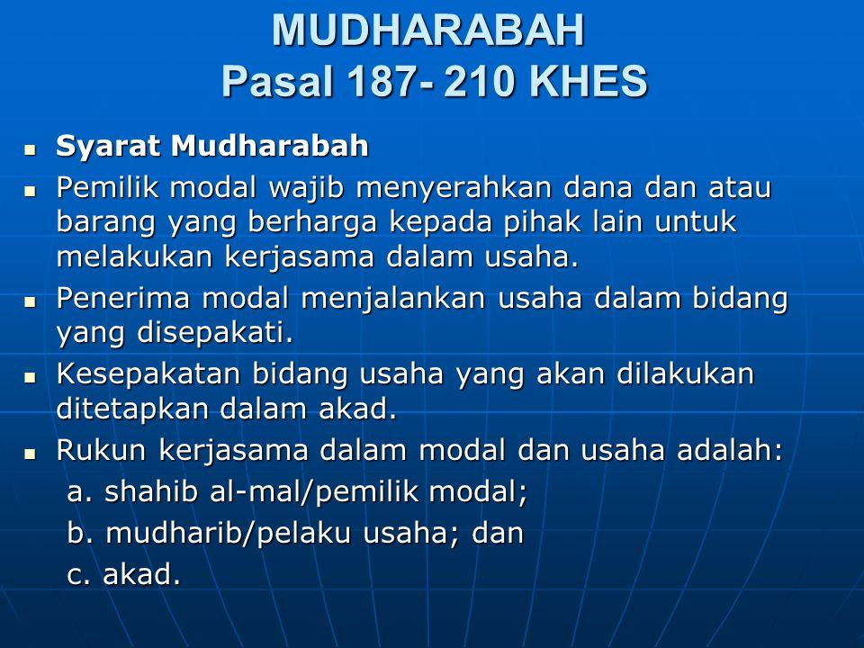 MUDHARABAH Pasal 187- 210 KHES Syarat Mudharabah Syarat Mudharabah Pemilik modal wajib menyerahkan dana dan atau barang yang berharga kepada pihak lai