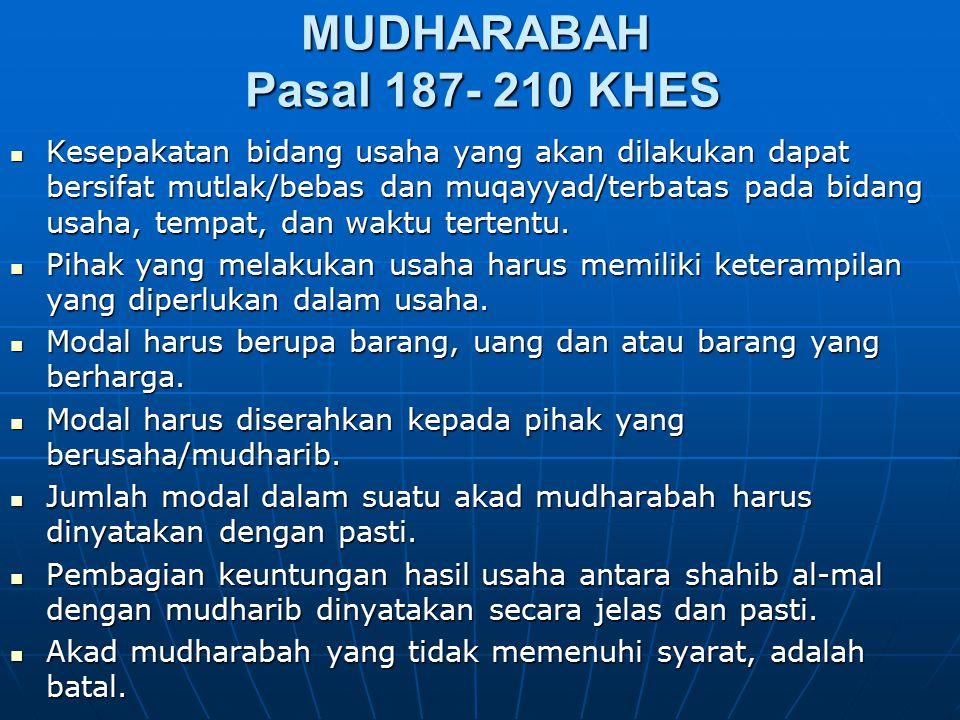 MUDHARABAH Pasal 187- 210 KHES Kesepakatan bidang usaha yang akan dilakukan dapat bersifat mutlak/bebas dan muqayyad/terbatas pada bidang usaha, tempa