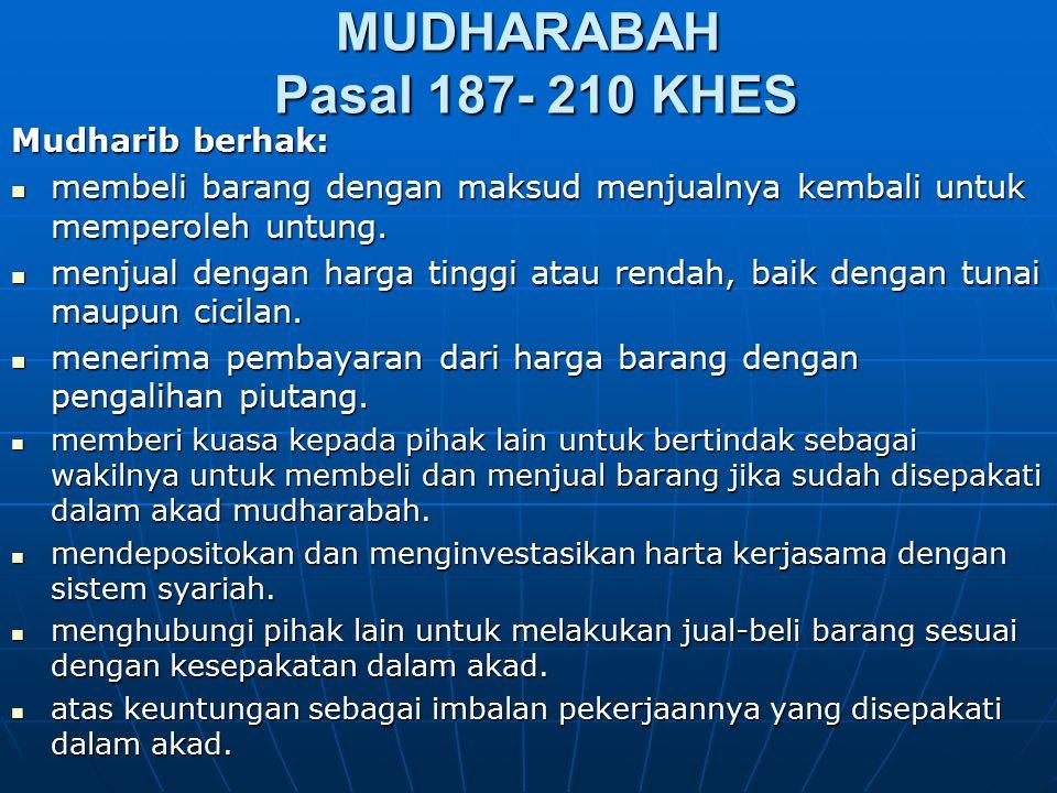 MUDHARABAH Pasal 187- 210 KHES Mudharib berhak: membeli barang dengan maksud menjualnya kembali untuk memperoleh untung. membeli barang dengan maksud