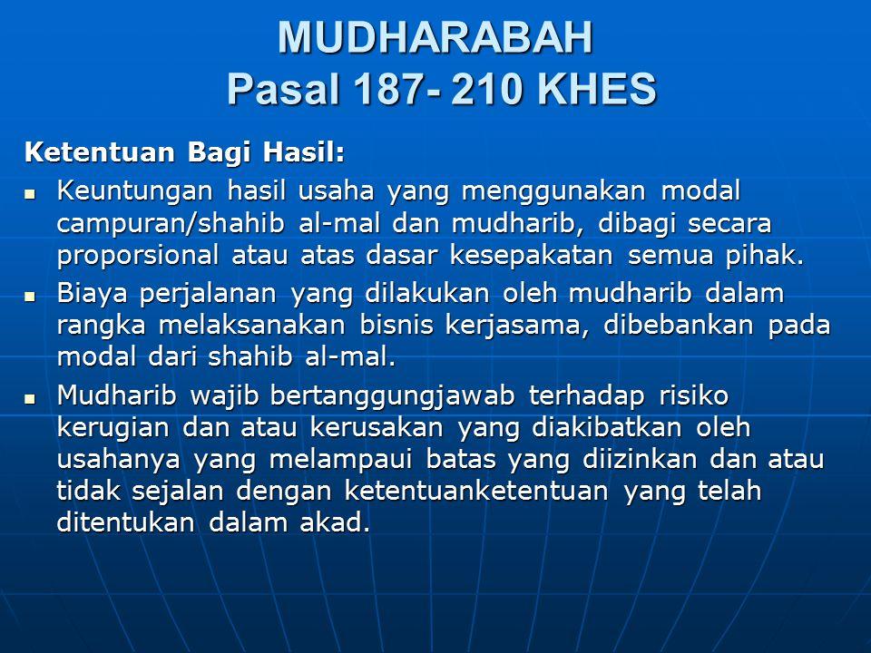 MUDHARABAH Pasal 187- 210 KHES Ketentuan Bagi Hasil: Keuntungan hasil usaha yang menggunakan modal campuran/shahib al-mal dan mudharib, dibagi secara