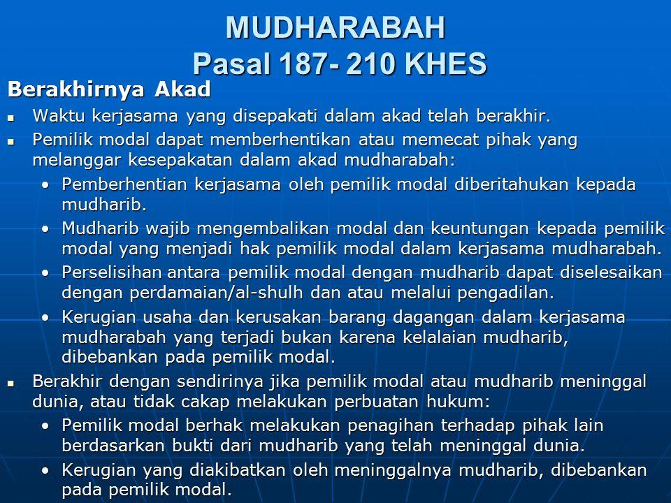 MUDHARABAH Pasal 187- 210 KHES Berakhirnya Akad Waktu kerjasama yang disepakati dalam akad telah berakhir. Waktu kerjasama yang disepakati dalam akad
