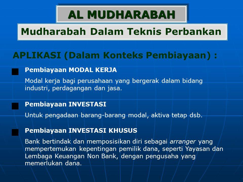 AL MUDHARABAH APLIKASI (Dalam Konteks Pembiayaan) : Mudharabah Dalam Teknis Perbankan Pembiayaan MODAL KERJA Modal kerja bagi perusahaan yang bergerak