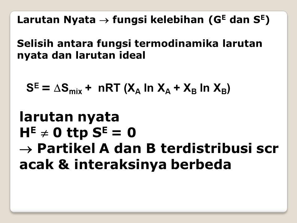 Larutan Nyata  fungsi kelebihan (G E dan S E ) Selisih antara fungsi termodinamika larutan nyata dan larutan ideal S E =  S mix + nRT (X A ln X A + X B ln X B ) larutan nyata H E  0 ttp S E = 0  Partikel A dan B terdistribusi scr acak & interaksinya berbeda