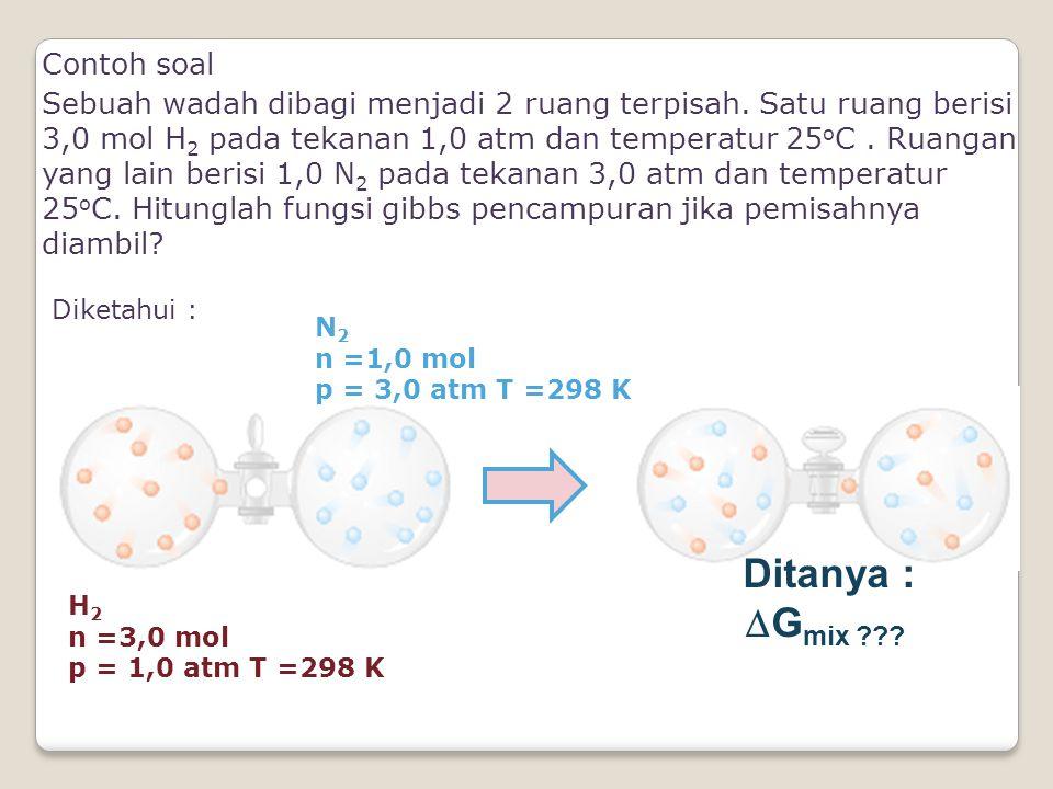 Contoh soal Sebuah wadah dibagi menjadi 2 ruang terpisah. Satu ruang berisi 3,0 mol H 2 pada tekanan 1,0 atm dan temperatur 25 o C. Ruangan yang lain
