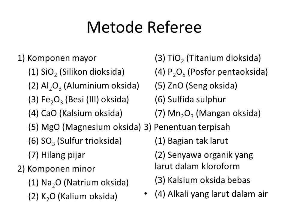 Metode Referee 1) Komponen mayor (1) SiO 2 (Silikon dioksida) (2) Al 2 O 3 (Aluminium oksida) (3) Fe 2 O 3 (Besi (III) oksida) (4) CaO (Kalsium oksida