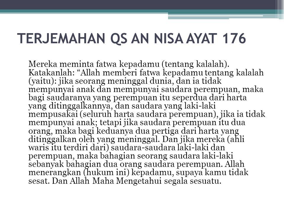 "TERJEMAHAN QS AN NISA AYAT 176 Mereka meminta fatwa kepadamu (tentang kalalah). Katakanlah: ""Allah memberi fatwa kepadamu tentang kalalah (yaitu): jik"