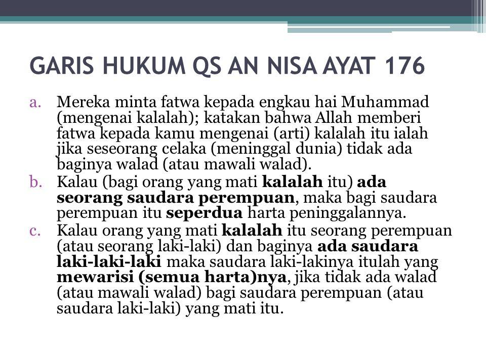GARIS HUKUM QS AN NISA AYAT 176 a.Mereka minta fatwa kepada engkau hai Muhammad (mengenai kalalah); katakan bahwa Allah memberi fatwa kepada kamu meng
