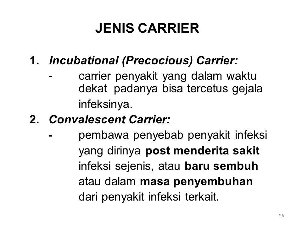 JENIS CARRIER 1. Incubational (Precocious) Carrier: -carrier penyakit yang dalam waktu dekat padanya bisa tercetus gejala infeksinya. 2.Convalescent C