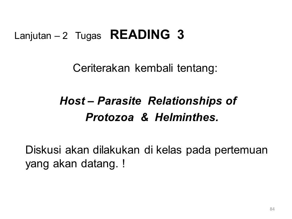 Lanjutan – 2 Tugas READING 3 Ceriterakan kembali tentang: Host – Parasite Relationships of Protozoa & Helminthes. Diskusi akan dilakukan di kelas pada