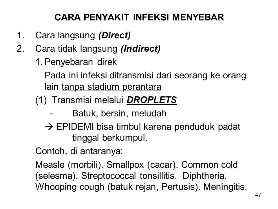 47 CARA PENYAKIT INFEKSI MENYEBAR 1.Cara langsung (Direct) 2.Cara tidak langsung (Indirect) 1.Penyebaran direk Pada ini infeksi ditransmisi dari seora