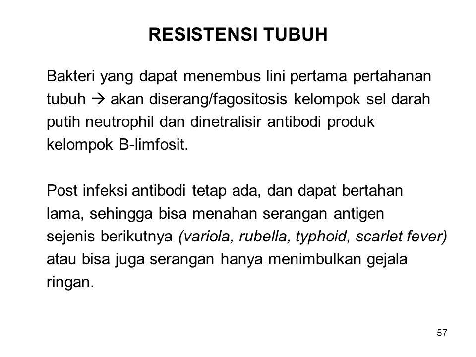 57 RESISTENSI TUBUH Bakteri yang dapat menembus lini pertama pertahanan tubuh  akan diserang/fagositosis kelompok sel darah putih neutrophil dan dinetralisir antibodi produk kelompok B-limfosit.