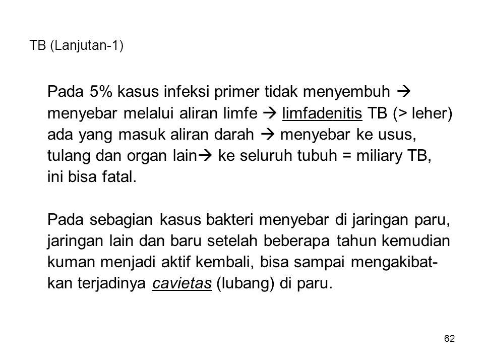62 TB (Lanjutan-1) Pada 5% kasus infeksi primer tidak menyembuh  menyebar melalui aliran limfe  limfadenitis TB (> leher) ada yang masuk aliran dara