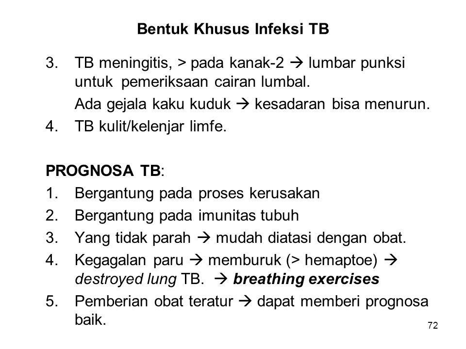 72 Bentuk Khusus Infeksi TB 3.TB meningitis, > pada kanak-2  lumbar punksi untuk pemeriksaan cairan lumbal. Ada gejala kaku kuduk  kesadaran bisa me