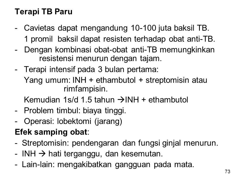 73 Terapi TB Paru -Cavietas dapat mengandung 10-100 juta baksil TB. 1 promil baksil dapat resisten terhadap obat anti-TB. - Dengan kombinasi obat-obat