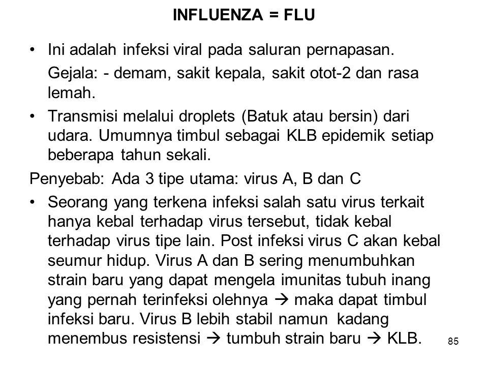 85 INFLUENZA = FLU Ini adalah infeksi viral pada saluran pernapasan. Gejala: - demam, sakit kepala, sakit otot-2 dan rasa lemah. Transmisi melalui dro