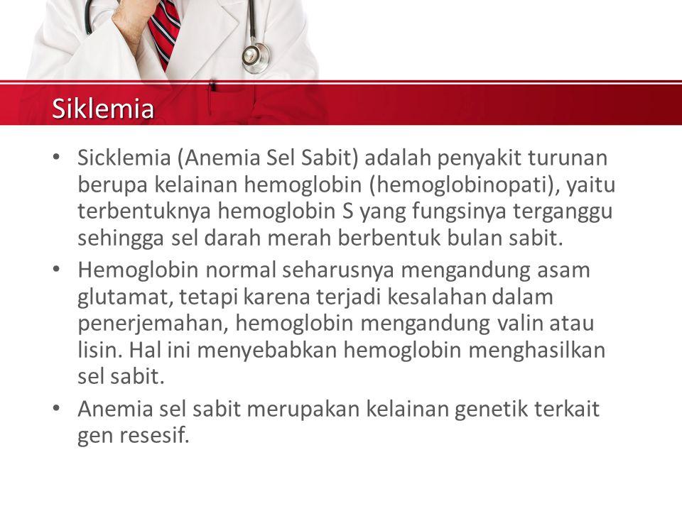Siklemia Sicklemia (Anemia Sel Sabit) adalah penyakit turunan berupa kelainan hemoglobin (hemoglobinopati), yaitu terbentuknya hemoglobin S yang fungsinya terganggu sehingga sel darah merah berbentuk bulan sabit.