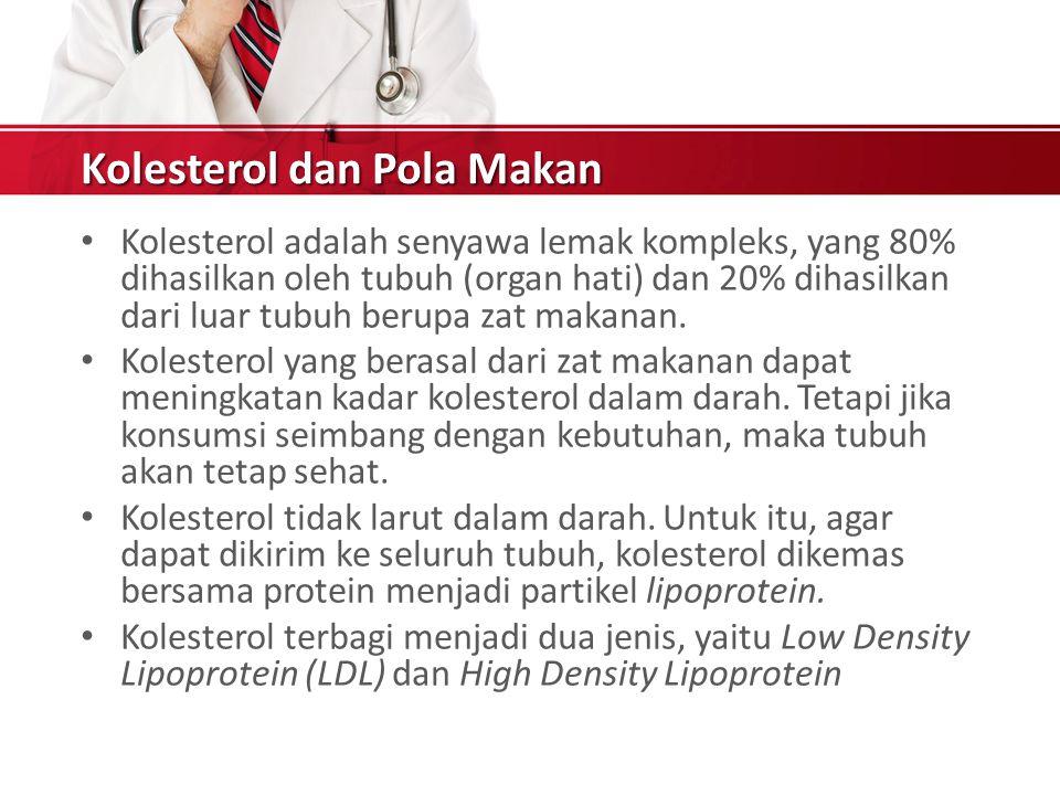 Kolesterol dan Pola Makan Kolesterol adalah senyawa lemak kompleks, yang 80% dihasilkan oleh tubuh (organ hati) dan 20% dihasilkan dari luar tubuh berupa zat makanan.