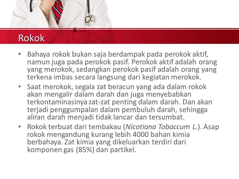 Rokok Bahaya rokok bukan saja berdampak pada perokok aktif, namun juga pada perokok pasif.