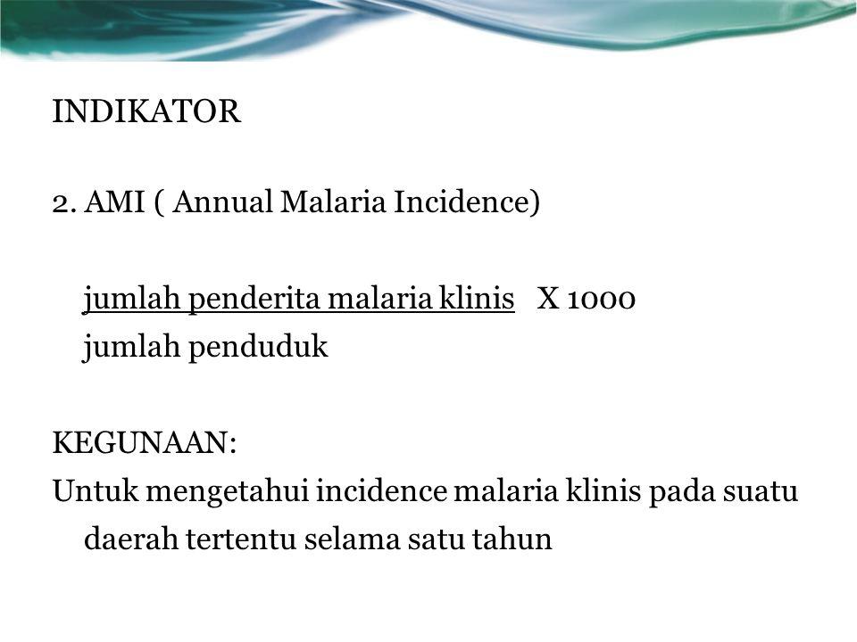 2. AMI ( Annual Malaria Incidence) jumlah penderita malaria klinis X 1000 jumlah penduduk KEGUNAAN: Untuk mengetahui incidence malaria klinis pada sua
