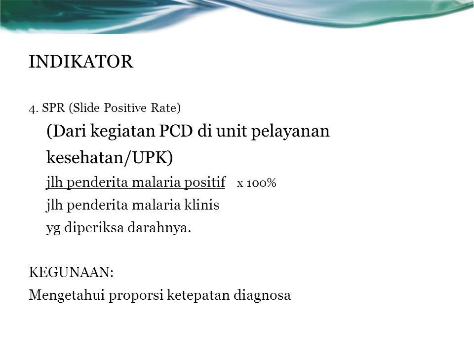 4. SPR (Slide Positive Rate) (Dari kegiatan PCD di unit pelayanan kesehatan/UPK) jlh penderita malaria positif x 100% jlh penderita malaria klinis yg