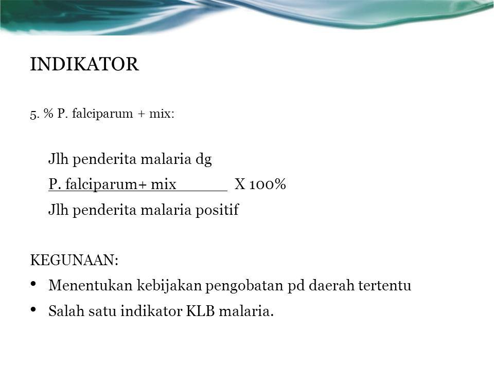 5. % P. falciparum + mix: Jlh penderita malaria dg P. falciparum+ mix X 100% Jlh penderita malaria positif KEGUNAAN: Menentukan kebijakan pengobatan p