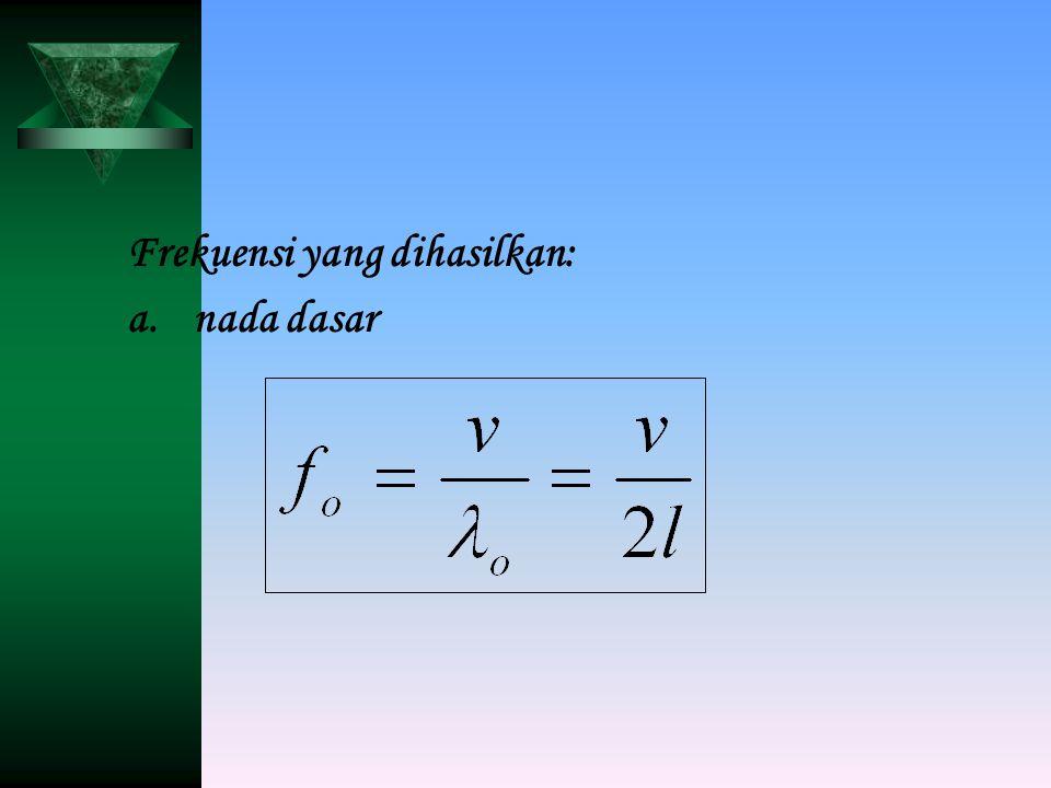 Frekuensi yang dihasilkan: a.nada dasar