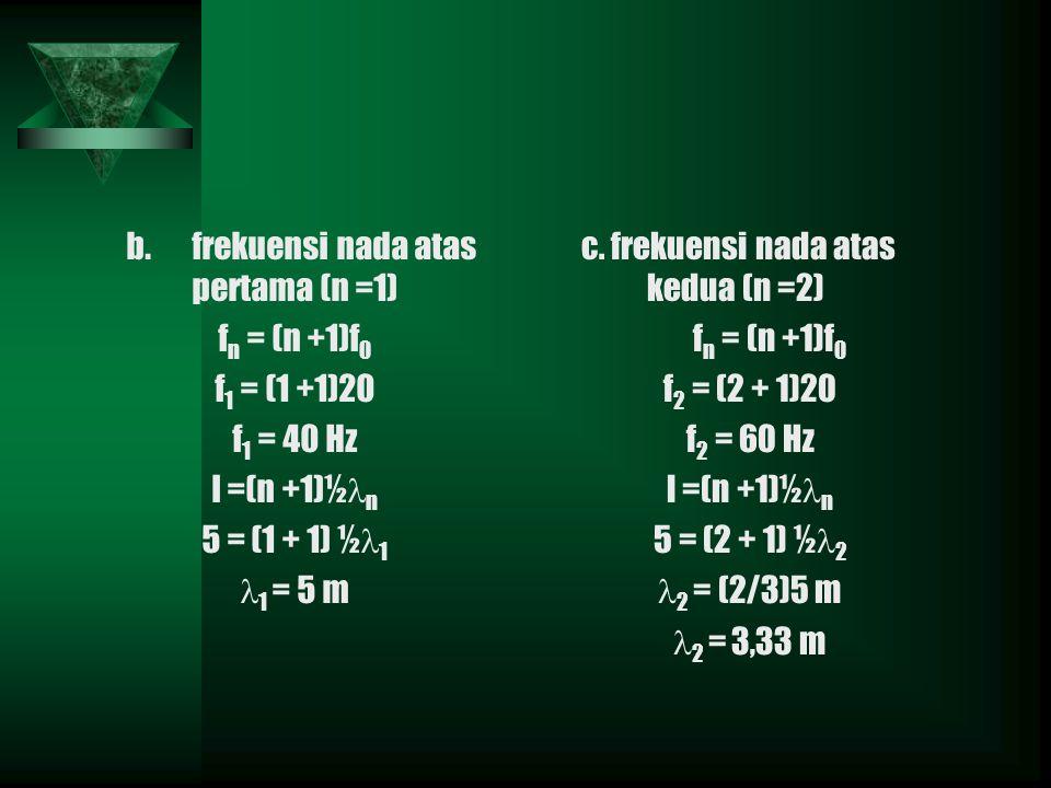 b.frekuensi nada atas pertama (n =1) f n = (n +1)f 0 f 1 = (1 +1)20 f 1 = 40 Hz l =(n +1)½ n 5 = (1 + 1) ½ 1 1 = 5 m c.