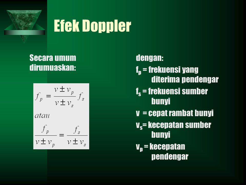 Efek Doppler Secara umum dirumuaskan: dengan: f p = frekuensi yang diterima pendengar f s = frekuensi sumber bunyi v = cepat rambat bunyi v s = kecepatan sumber bunyi v p = kecepatan pendengar