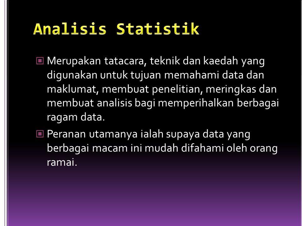 Merupakan tatacara, teknik dan kaedah yang digunakan untuk tujuan memahami data dan maklumat, membuat penelitian, meringkas dan membuat analisis bagi memperihalkan berbagai ragam data.