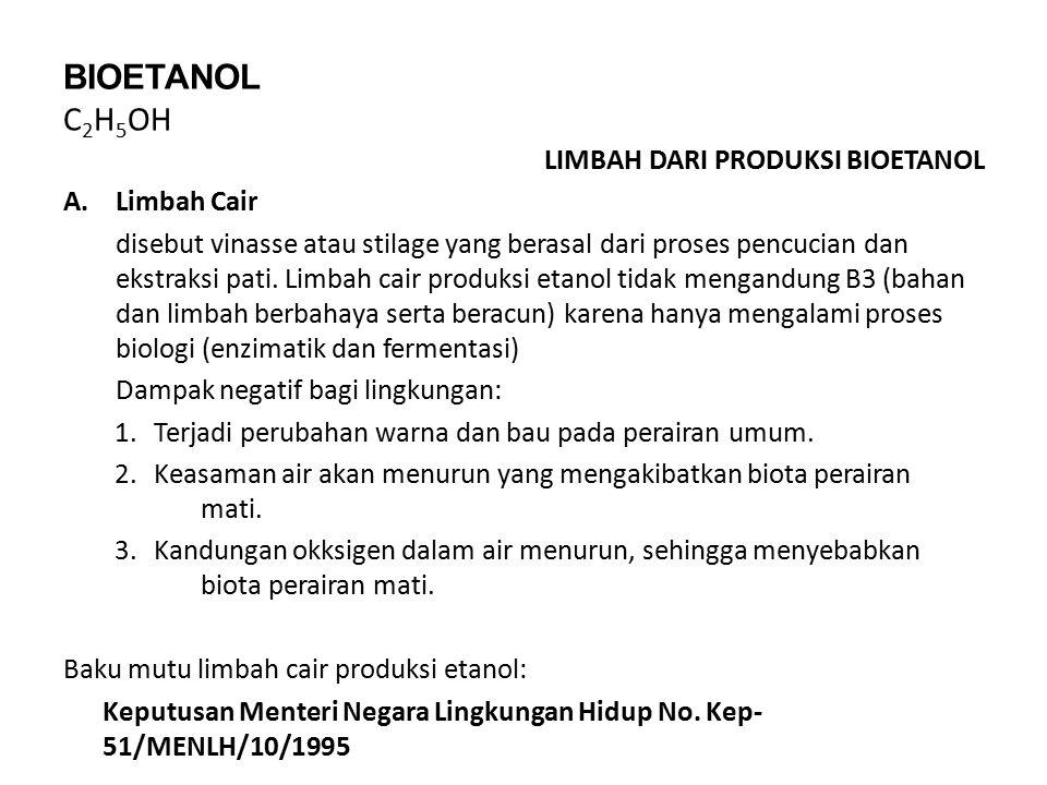 BIOETANOL C 2 H 5 OH LIMBAH DARI PRODUKSI BIOETANOL A.Limbah Cair disebut vinasse atau stilage yang berasal dari proses pencucian dan ekstraksi pati.