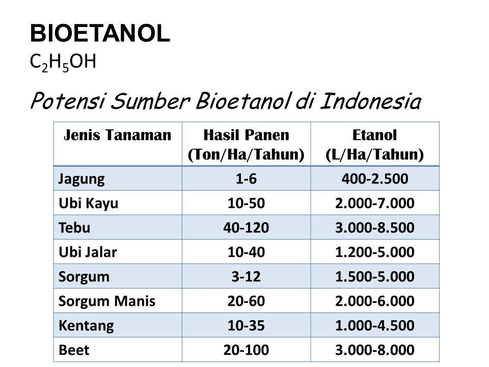 BIOETANOL C 2 H 5 OH Potensi Sumber Bioetanol di Indonesia Jenis TanamanHasil Panen (Ton/Ha/Tahun) Etanol (L/Ha/Tahun) Jagung1-6400-2.500 Ubi Kayu10-5