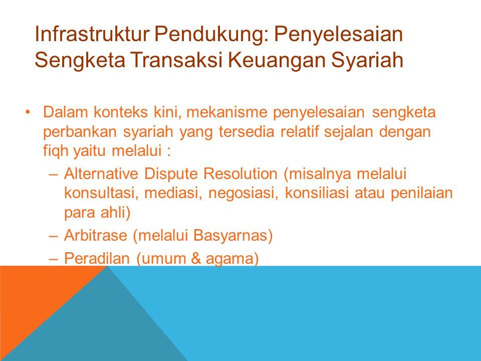 Infrastruktur Pendukung: Penyelesaian Sengketa Transaksi Keuangan Syariah Dalam konteks kini, mekanisme penyelesaian sengketa perbankan syariah yang t