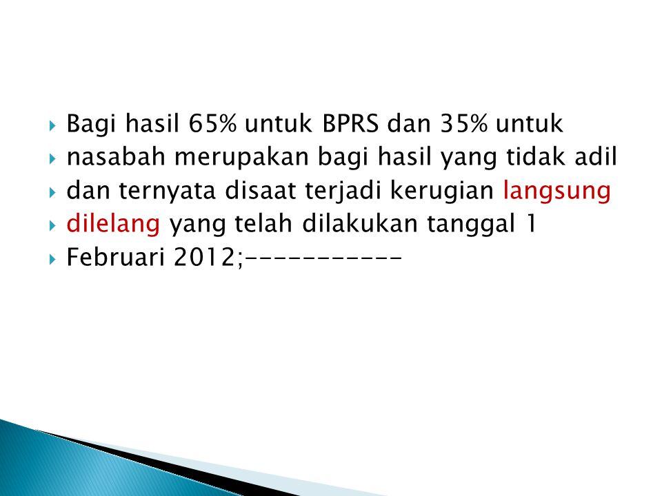  Bagi hasil 65% untuk BPRS dan 35% untuk  nasabah merupakan bagi hasil yang tidak adil  dan ternyata disaat terjadi kerugian langsung  dilelang ya