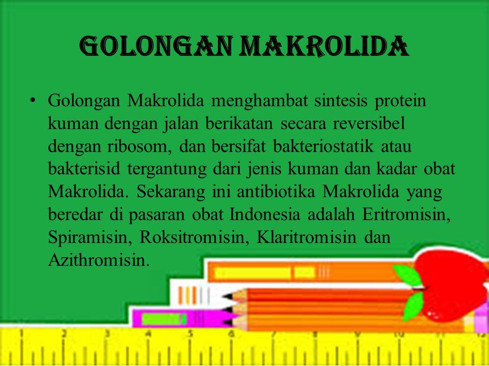 Golongan Makrolida Golongan Makrolida menghambat sintesis protein kuman dengan jalan berikatan secara reversibel dengan ribosom, dan bersifat bakteriostatik atau bakterisid tergantung dari jenis kuman dan kadar obat Makrolida.