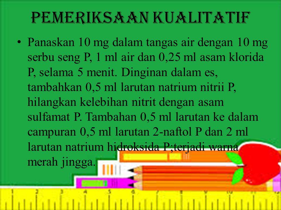 Pemeriksaan Kualitatif Panaskan 10 mg dalam tangas air dengan 10 mg serbu seng P, 1 ml air dan 0,25 ml asam klorida P, selama 5 menit. Dinginan dalam