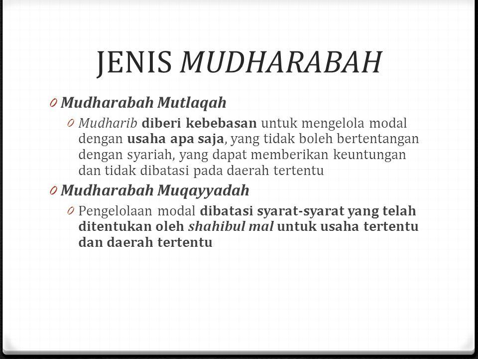 JENIS MUDHARABAH 0 Mudharabah Mutlaqah 0 Mudharib diberi kebebasan untuk mengelola modal dengan usaha apa saja, yang tidak boleh bertentangan dengan syariah, yang dapat memberikan keuntungan dan tidak dibatasi pada daerah tertentu 0 Mudharabah Muqayyadah 0 Pengelolaan modal dibatasi syarat-syarat yang telah ditentukan oleh shahibul mal untuk usaha tertentu dan daerah tertentu