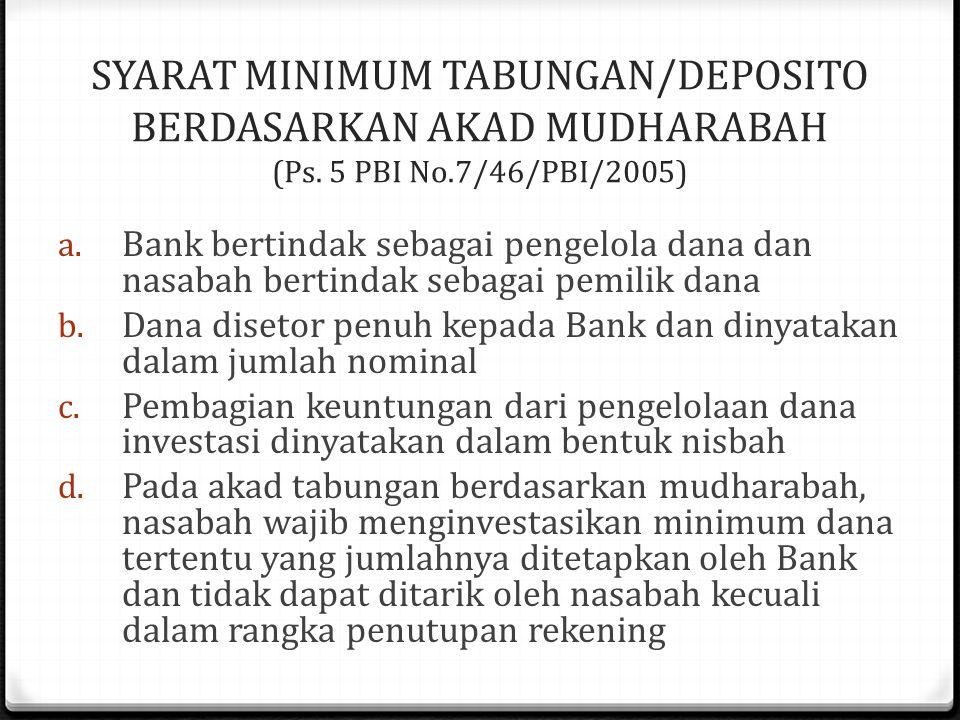 SYARAT MINIMUM TABUNGAN/DEPOSITO BERDASARKAN AKAD MUDHARABAH (Ps.