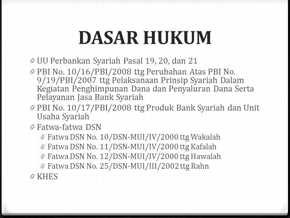 DASAR HUKUM 0 UU Perbankan Syariah Pasal 19, 20, dan 21 0 PBI No.